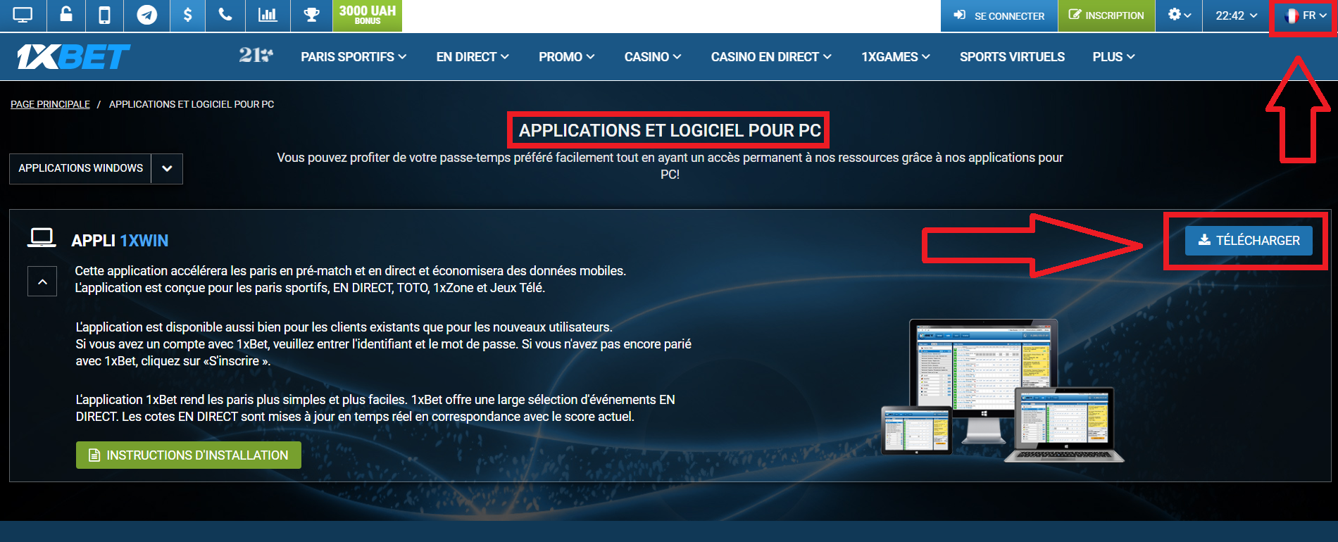 Comment installer l'application 1xBet Android
